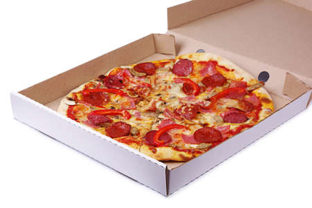Pizza in box on a white background photo