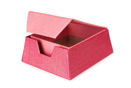 Pink opened gift box on a white background