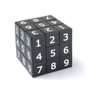 Sudoku numbers cube puzzle on a white background Stock Photo