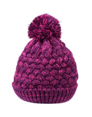 bobble: Purple bobble hat on a white background