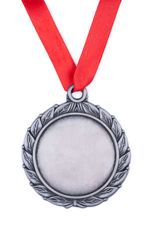 Silver medal with red ribbonon a white background