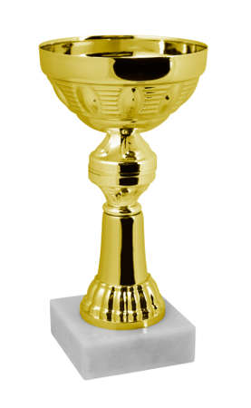 Gold trophy on a white background