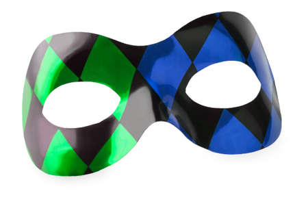 Blue and green carnival mask on a white background