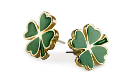 Four-leaf clover earrings on a white background photo