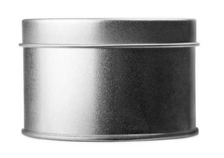 Round metal container on a white background Stock Photo
