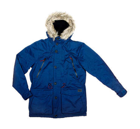Blue parka on a white background photo