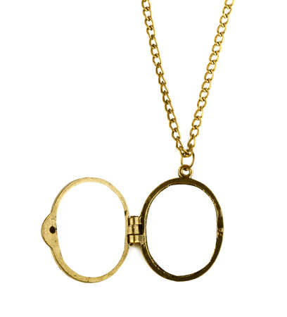 Brass locket with chain on a white background Stock Photo