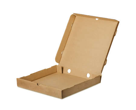 Brown pizza box om a white background