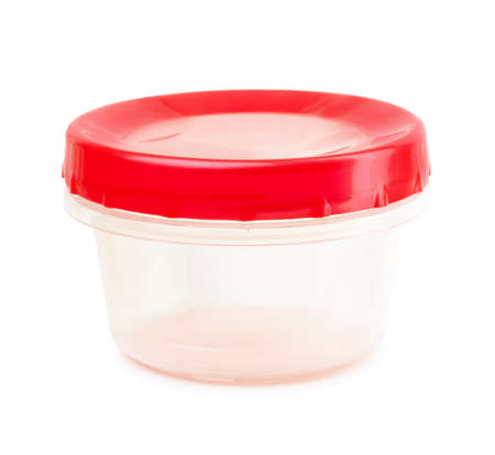 Red plastic container on a white background