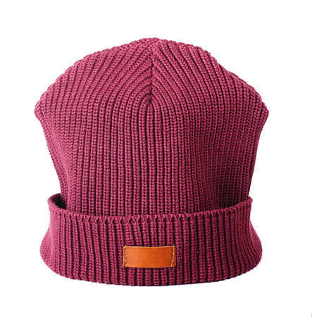 Vinous winter hat on a white background