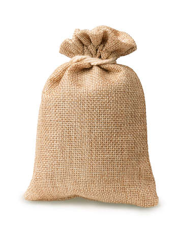 Burlap sack on a white background photo