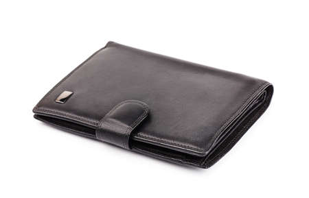 change purse: Black leather wallet isolated on white background