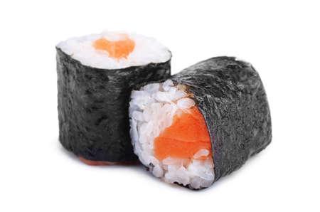 Two sushi rolls isolated on white background
