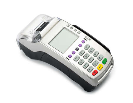 Credit card machine reader isolated on a white background Stock Photo