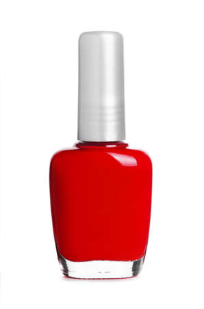 nail polish bottle: Red nail polish bottle isolated on white background Stock Photo