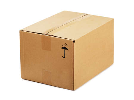 Closed cardboard box isolated on a white background Stock Photo