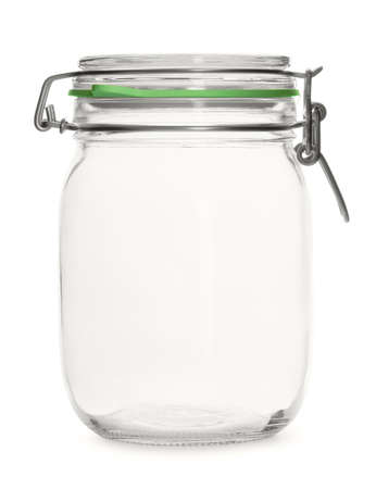 threaded: Glass empty threaded jar on a white background Stock Photo