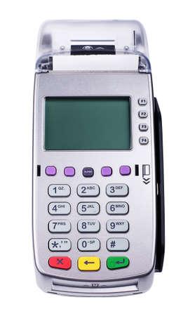 credit card: lector de tarjeta de crédito máquina aislado en un fondo blanco