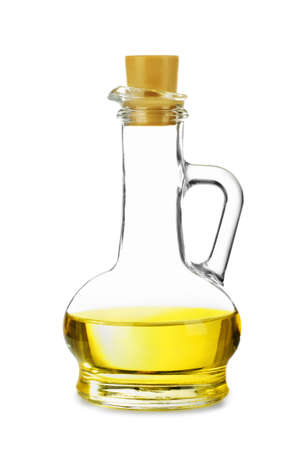 decanter: Decanter with sunflower oil isolated on white background Stock Photo