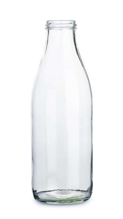 Empty transparent milk bottle isolated on the white background