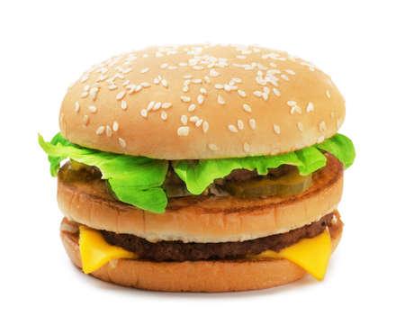 Big burger isolated on white background