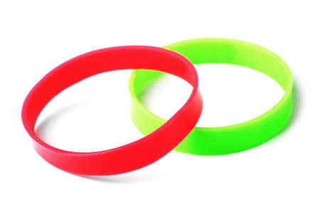 Rubber bracelets isolated on a white background Stock Photo
