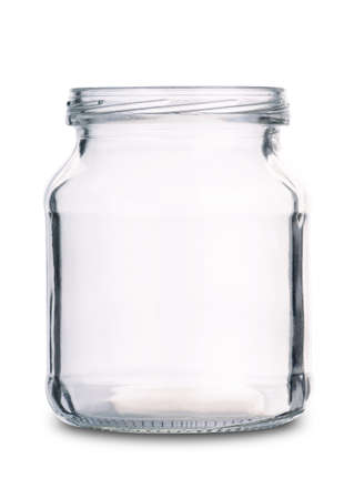 Empty glass jar isolated on a white background Stok Fotoğraf