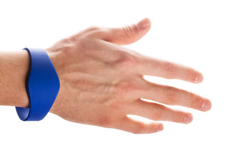 rfid: RFID Bracelet on a hand of man isolated on a white background