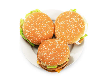 whote: Burgers on a plate on a whote background Stock Photo