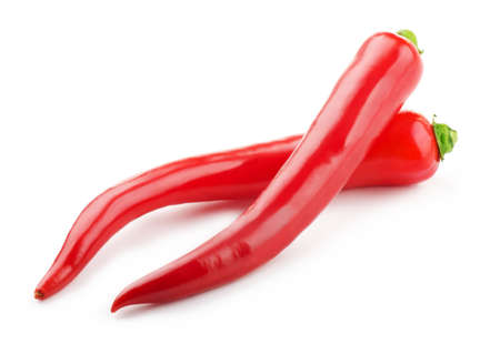 chili pepper: Hot red chili peppers isolated on white background Stock Photo