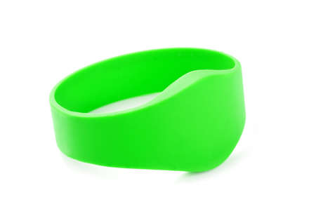 rfid: Green RFID Bracelet on isolated on a white background