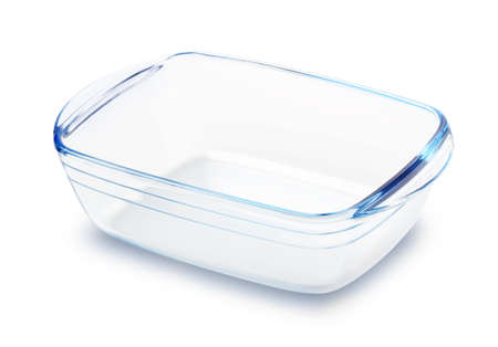 Glass baking dish isolated on white background Stok Fotoğraf