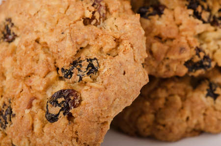 medium group of objects: Oatmeal raisin cookie close-up