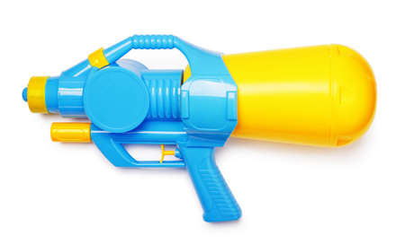Plastic water gun isolated on white background Stok Fotoğraf