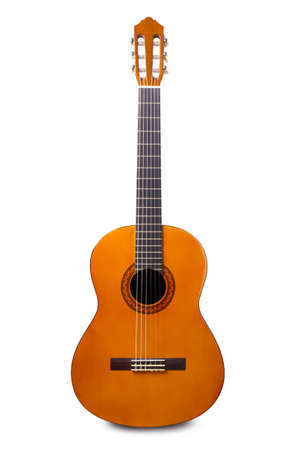 Orange acoustic guitar isolated on a white background