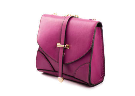 Purpule womans bag isolated on white background