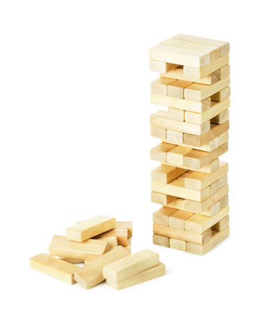 Close up blocks wood game (jenga) isolated on white background