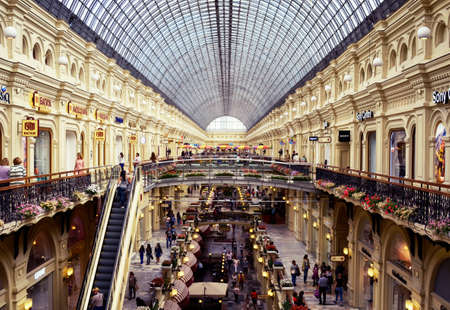 MOSCOW, RUSSIA - July august 21, 2016 View of the galleries the second and third floors ot the State Department Store (GUM) inside from above. Editorial
