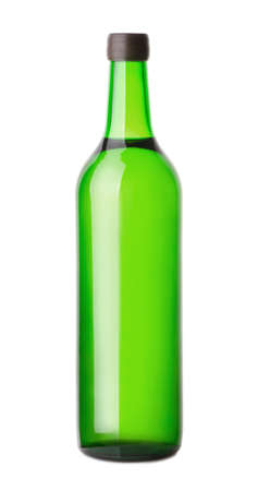 Green glass wine bottle isolated on white background  Stock Photo