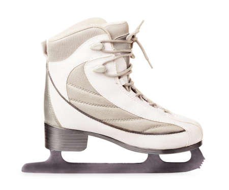 Side view of white ice skates isolated on white background