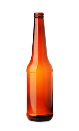 Empty brown beer bottle isolated on white background Stock Photo