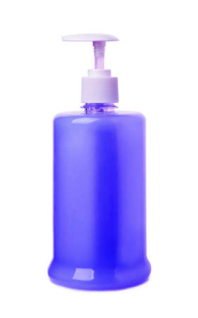 Blue liquid soap isolated on a white background