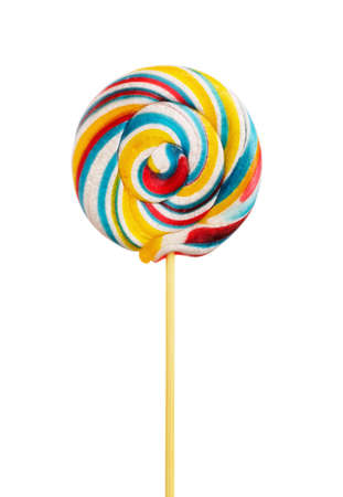 Spiral lollipop candy on a stick isolated on a white background