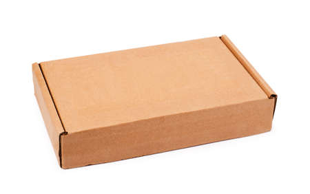 Beige cardboard box isolzted on a white background