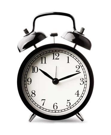 Black alarm clock isolated on white background