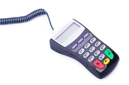 Payment terminal for credit card isolated on white background Stock Photo
