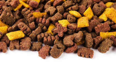 catfood: Dry pet food isolated on a white background