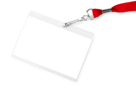Blank bagde mockup isolated on white background. Nametag with red ribbon and transparent plastic paper holder. Reklamní fotografie - 79549286