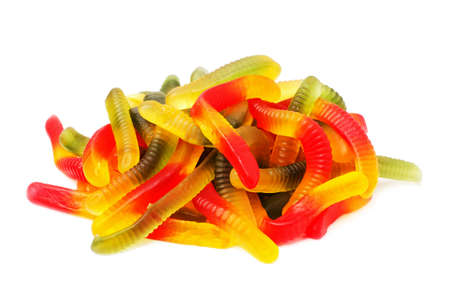 Tasty jelly worms isolated on white background