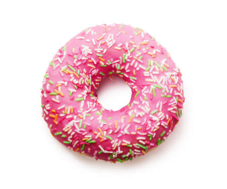 Pink donut with colorful sprinkles isolated on white background Stock Photo